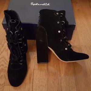 Splendid Lace Up Rosa Boots Black Suede